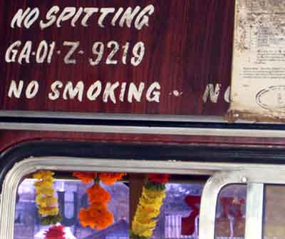 No spitting and no smoking in bus in India.