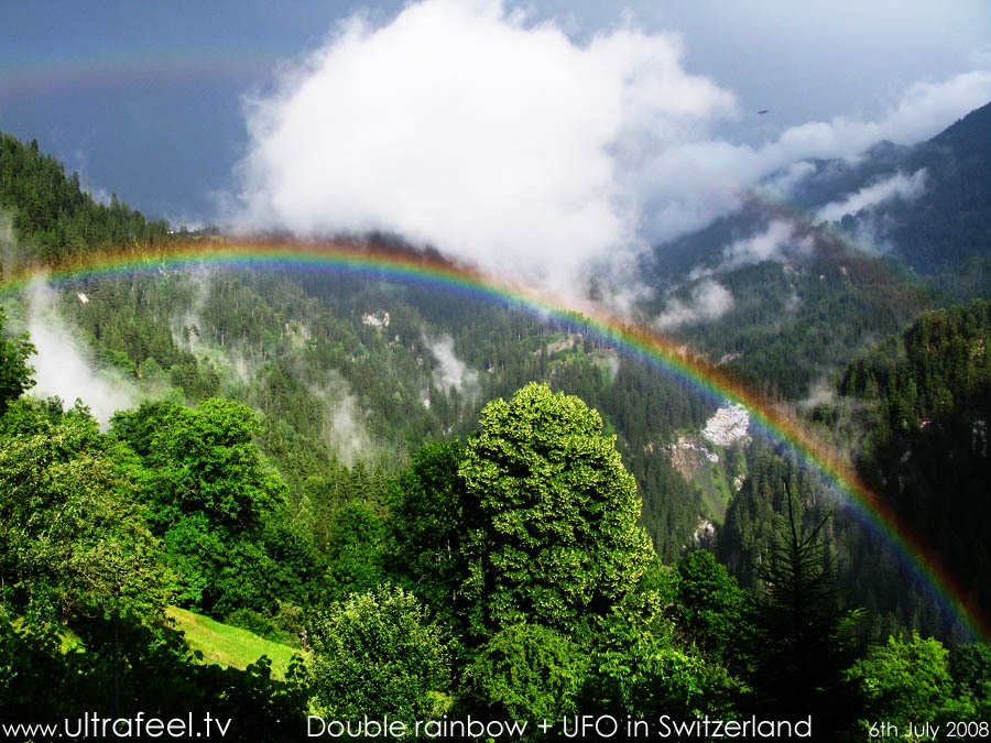 Double rainbow and UFO over Schanfigg, county Grisons, Switzerland (c) ultrafeel.tv