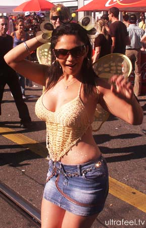 Streetparade 2008 : Woman with big breast, tits.
